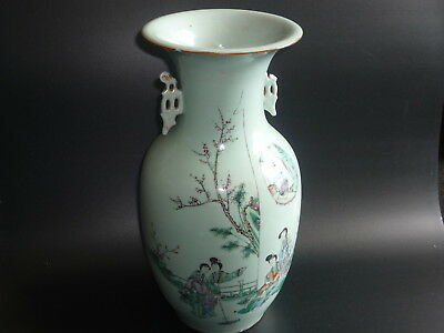 Antique Chinese Porcelain Hand Painted Picture and Writing Large Vase