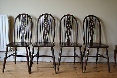 Set of 4 Victorian Beech & Elm Wheel Back Windsor Kitchen Dining Chairs
