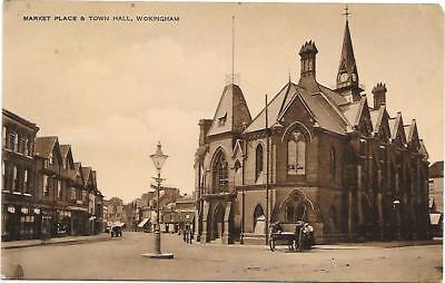 211 RPPC   MARKET PLACE & TOWN HALL WOKINGHAM UNPOSTED c1910 BERKSHIRE