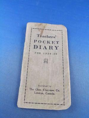 Teachers Pocket Diary Notebook For 1929-30 Towns In Canada Government Info