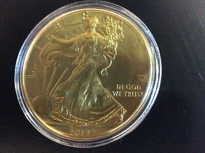 2014 American Eagle 24K Gold Gilded 1Troy oz .999  Silver Coin
