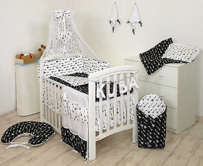 BLACK ARROWS BABY BEDDING SET COT COT BED 3,5,9 Pieces COVER BUMPER CANOPY+more