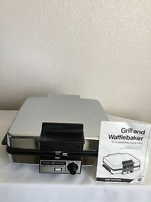 Vintage General Electric Wafflebaker Grill Chrome 900 Watts Model A2G48T Works