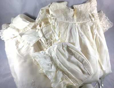 Vtg Handmade Embroidered Silk Lace Baby Christening Gown, Coat, Bonnet Set