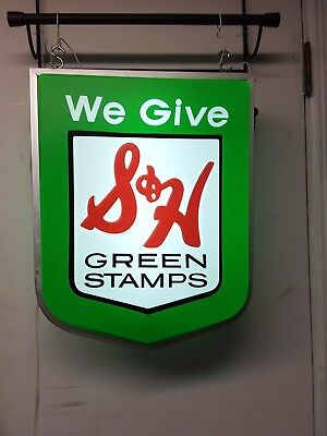 S & H Green Stamps lighted sign vtg but never used original box double sided