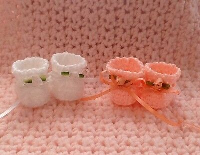 Tiny Thumbelina Hand Crocheted Booties Set of Two Pair White & Peach