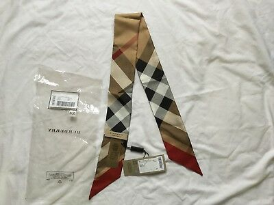 Slim Burberry Camel Check 100% Silk Scarf Made In Italy Bnwt Genuine