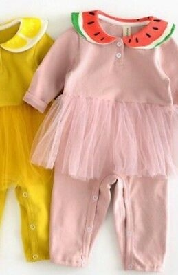 New Baby Girls Pink Melon Collar Frill Sleepsuit Outfit 6-9 Months
