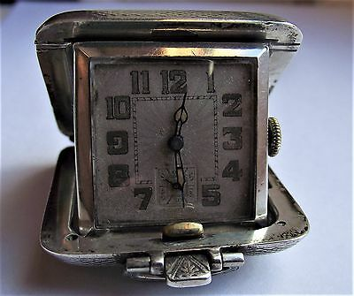 Antique Solid Silver Folding Travel Clock  WORKING ORDER, Birmingham 1932
