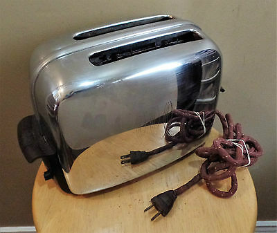 Vintage 1953 Chrome TOASTMASTER Pop Up TOASTER w Cloth CORD~Model 1B14~WORKS!