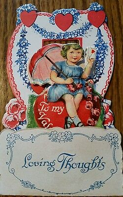 Vintage Valentine Card Loving Thoughts To My Valentine printed in Germany pop up
