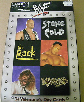 1999 Wwf Valentine's Day Cards Box 34 Cards Stone Cold, The Rock, Mankind