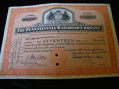 The Pennsylvania Railroad Company Stock Certificate 17 Shares Dated 1952