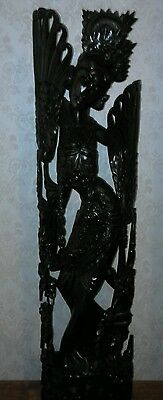 Vintage Balinese Lady Woman  Bali Wood Wooden Sculpture Carving