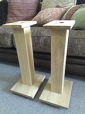 Pair of Oak Speaker Stands - 580mm high