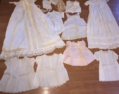 Lot 12 Piece Nightgown Christening Vintage Dresses Baby Infant Victorian Lace