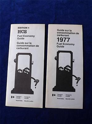 1977 & 1978 Fuel Economy Guide Brochure Transport Canada Road Safety Cars Trucks