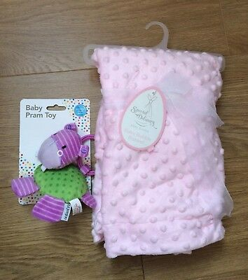 Special Delivery Pink Baby Bubble Super Soft Blanket 70cm x 100cm & Pram Toy