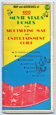 400 Movie Stars Homes Map 1971 Sightseeing Map & Entertainment Guide