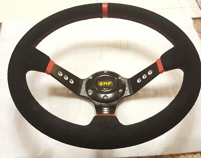New 350mm Suede Leather Deep Dish Steering Wheel OMP MOMO RED Drift NARDI Rally