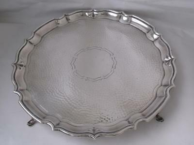 Smart Antique Chester 1915 Solid Sterling Silver Salver/Tray/ Dia 26.2cm/ 559g