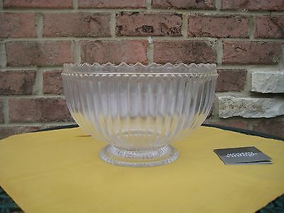 NWT $80 w/Box CLEAR CRYSTAL SERVING BOWL CATALINA MODERN VINTAGE GIFT NEW