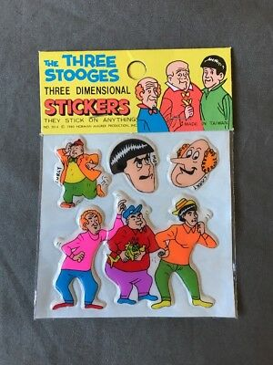The Three Stooges 3D Puffy Stickers 1980 Norman Mauer Production