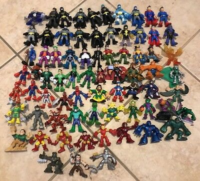 Imaginext Lot Of 73 Figures Fisher Price Playskool Dc Marvel Ironman Spiderman