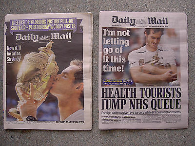 Andy Murray Wimbledon Champion, June 2013 & 2016 Daily Mail Newspapers