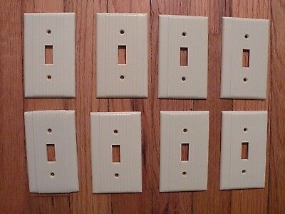 Lot of 8 Vintage Ribbed Electrical Wall Switch Plates Covers 1950's