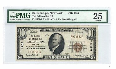 $10 1929 United States Ballston Spa NY National Currency ~ PMG VF 25  Chtr #1253
