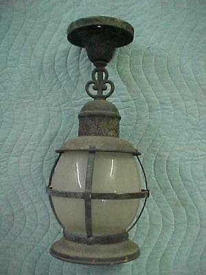 Antique Copper/Brass Porch Light with Frosted Glass Shade