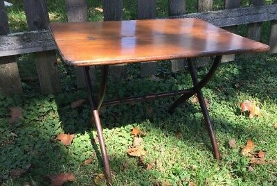 """Small Vintage Folding End Table 19""""w x 26""""l x 19""""h Project Piece"""