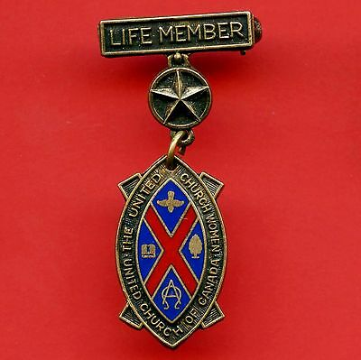 Life Member Enameled Pin (United Woman's Church Of Canada) By Allison Gold Fill