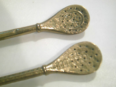 2 Antique Brass Yerba Mate, Bombilla Drinking Tea Straws