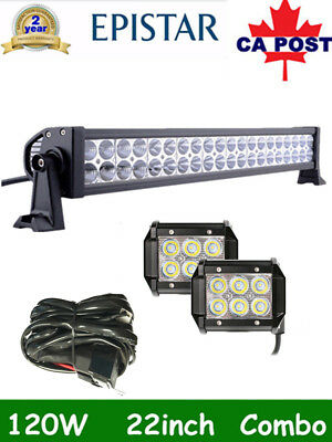 22Inch 120W CREE LED Light Bar SPOT FLOOD COMBO Offroad+2X 4Inch 18w+Wiring Kit