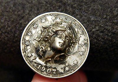 Genuine Antique 1907 Pop Out Coin Barber Liberty Nickel 3D Repousse Hat Pin