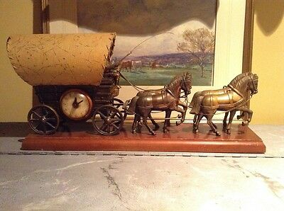 Vintage United Clock Company Covered Stagecoach And Horses Clock/lamp