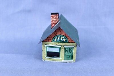 Vintage Tin Litho Candy Container House Cover With Glass Insert #1