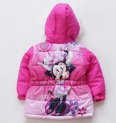 Little Girls Minnie Mouse Coat Thick Winter Warn Hooded Jacket Outerwear 2-5Year