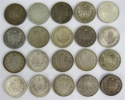 Mexico - Lot Of 20 -  Silver One Peso Coins 1923 - 1945