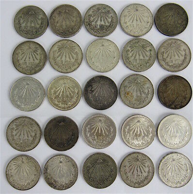 Mexico - Lot Of 25 -  Silver One Peso Coins 1922 - 1944