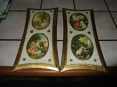 Vintage Set of 2 Italy Italia Tole Wall Hanging on Wood Victorian Era Gold Trim