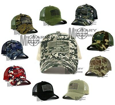 USA American Flag hat cap Mesh Tactical Operator Military Snapback Baseball