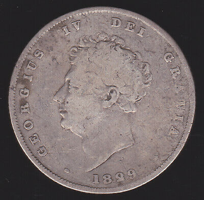 UK Britain 1829 Shilling KM 694 VG/G 12d Better Date British Silver Coin