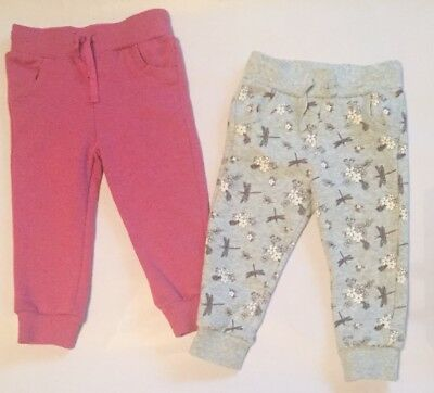 2 Pairs Girls Jogging Bottom Trousers 12 - 18 Months