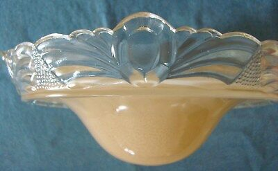 Vintage Peach Glass Ceiling Light Shade Fixture 3-Chain hanging Art Deco lamp