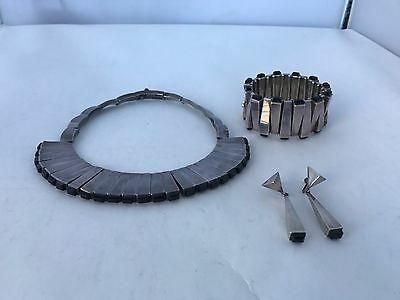 Antonio Pineda Sterling Obsidian bracelet necklace earring iconic matchstick set
