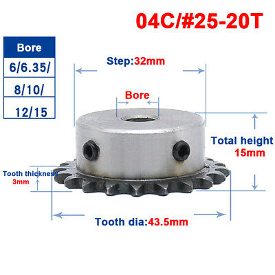 "1/4"" 20T Chain Drive Sprocket Bore 6/6.35/8/10/12/15mm For #25 04C Roller Chain"