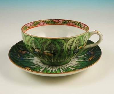 Antique Chinese Export Famille Verte Cabbage Leaf & Butterfly Cup Saucer Set NR